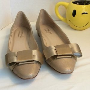 Talbots Gold flats with bow accents. Never worn!